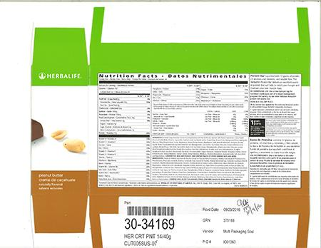 """Herbalife Protein Bar carton nutrition facts panel"""