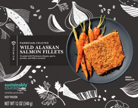 Parmesan-Crusted Wild Alaskan Salmon Fillets, 12 oz. (front package)