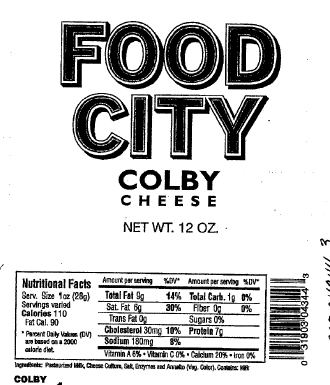"""Food City Colby Cheese, 12 oz"""
