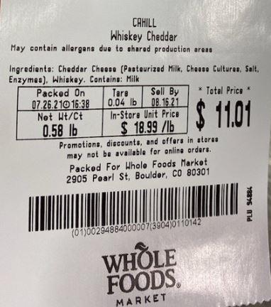 WFM Scale Label – CAHILL Whiskey Cheddar, Net Wt/Ct, 0.58 lbs., WHOLE FOODS MARKET