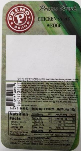 Label, Premo Fresh Chicken Salad Wedge