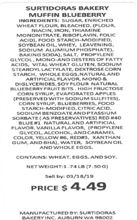Product label, Blueberry Muffin: Sell by dates between 3/18/19 and 3/26/19
