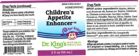 """Product label, Dr. Kings Childrens Appetite Enhancer, 2 fl oz"""