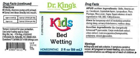 """Product label, Dr. Kings Kids Bed Wetting, 2 fl oz"""