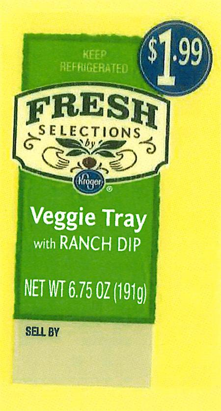 """Front and back labels: Fresh Selections by Kroger Veggie Tray with Ranch Dip"""