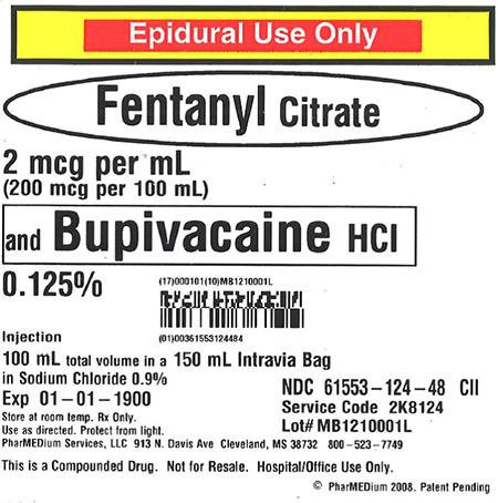 """2 mcg/mL Fentanyl Citrate and 0.125% Bupivacaine HCl (Preservative Free) in 0.9% Sodium Chloride"""