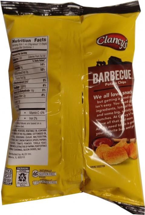 """Nutrition Facts Clancy's Barbecue Potato Chips"""