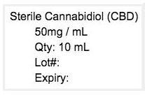 Photo 4, Labeling, Sterile Cannabidiol (CBD), 50mg/mL