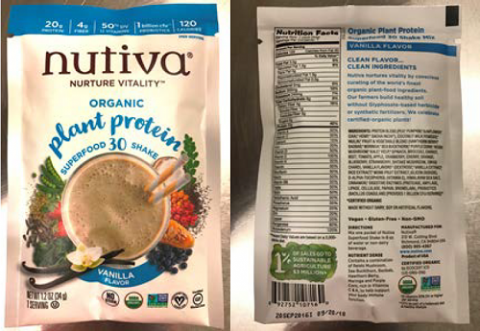 """Packet images, front panel and back panel, Nuvita Organic plant protein super food 30 shake Vanilla Flavor, 1.2 oz (34g) Packets"""