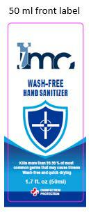 50 ml front label IMC Wash-Free Hand Sanitizer, 1.7 fl. oz.