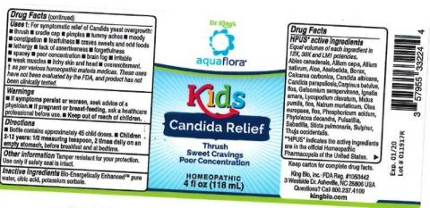"""Product label, Dr. Kings Aquaflora Kids Candida Relief 4 fl oz"""