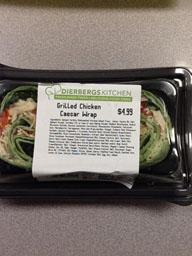 """Photo:  Ingredient Label - DIEBERGS KITCHEN Grilled Chicken Caesar Wrap 10 oz."""