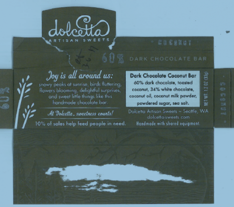 """Dark Chocolate Coconut Bar, product label"""