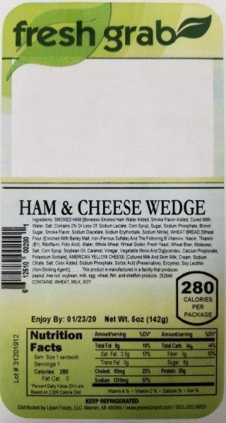 Label, Fresh Grab Ham & Cheese Wedge