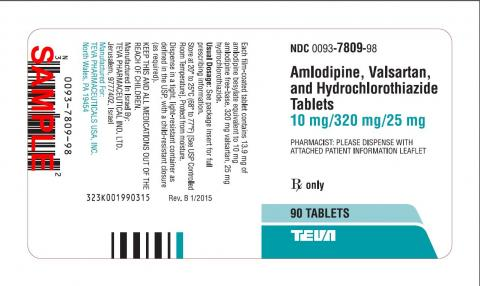 Amlodipine, Valsartan, and Hydrochlorothiazide Tablets 10 mg/320 mg/25 mg. 90 Tablets