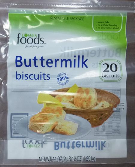 LOWES FOODS BUTTERMILK BISCUITS, 20 ct UPC 4164300718