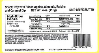 """Label: Club Chef LLC Snack Tray with Sliced Apples, Almonds, Raisins"""