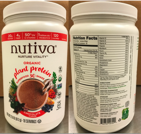 """HDPE Jar images, front panel and back panel, Nuvita Organic plant protein super food 30 shake Chocolate Flavor, 21.6 oz"""