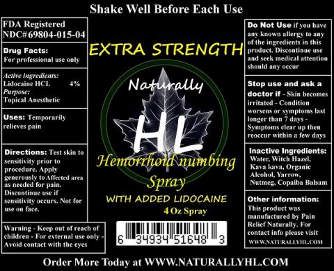 """Label, Naturally HL Hemorrhoid Numbing Spray with added lidocaine 4 oz. Spray"""