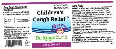 """Product label, Dr. Kings Childrens Cough Relief, 2 fl oz"""