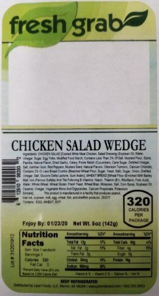 Label, Fresh Grab Chicken Salad Wedge