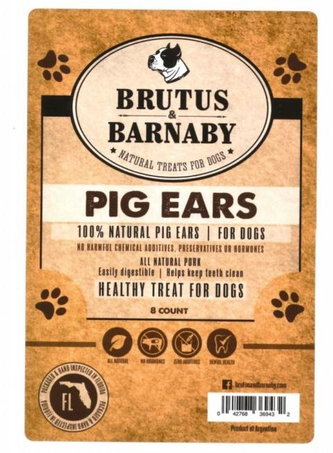 Label, Brutus & Barnaby Pig Ears, 8 count