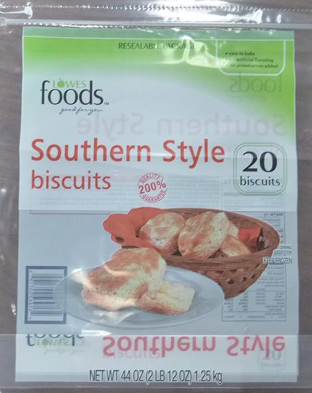 LOWES FOODS SOUTHERN STYLE BISCUITS, 20 ct UPC 4164300719