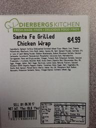 """Photo:  Ingredient and Nutrition Facts Label, DIEBERGS KITCHEN Santa Fe Grilled Chicken Wrap 11 oz."""