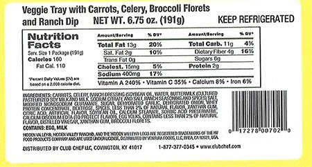 """Label: Club Chef LLC Veggie Tray with Carrots, Celery, Broccoli Florets"""