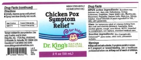 """Product label, Dr. Kings Chicken Pox Symptom Relief, 2 fl oz"""