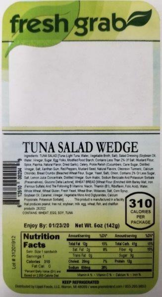 Label, Fresh Grab Tuna Salad Wedge