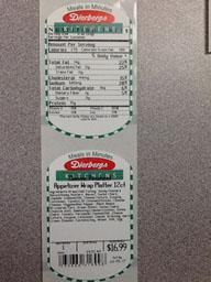 """Photo:  Ingredient Label and Nutrition Facts Label - Classic Pinwheel Appetizer Wrap Platter 12 Ct."""