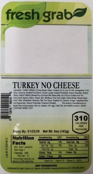 Label, Fresh Grab Turkey No Cheese Wedge
