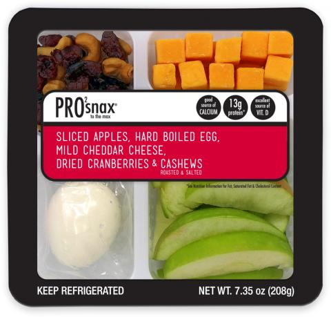 Label, Pro2Snax To The Max Granny Apples /Hard Boiled Egg/Cheddar/Cashew & Craisin