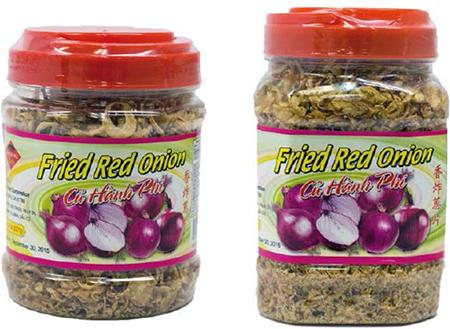 Alt Txt: Canisters of fried red onion and fried garlic (8 oz and 12 oz sizes)
