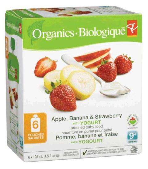 Apple, Banana & Strawberry with Yogurt - strained baby food - 6x128 millilitre