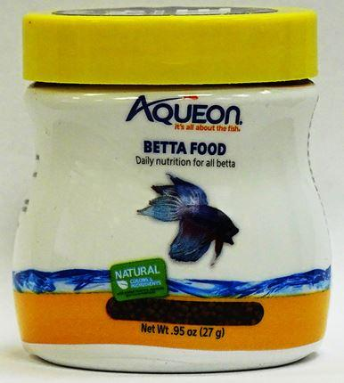 Front of package, Aqueon Betta Food, lot EX04JUN22