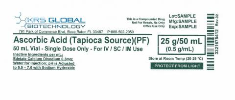 Ascorbic Acid (Tapioca Source), 25g/50 ml  label example