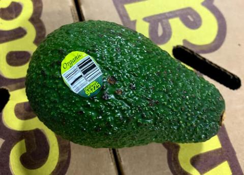 Product image of Organic California avocado with bar code sticker