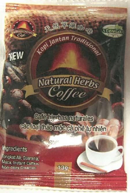 Package:  Ground Kopi, Jantan Tradisional, Natural Herbs Coffee, 13g.