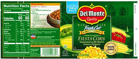 Label, Del Monte FIESTA CORN Seasoned with Red & Green Peppers.