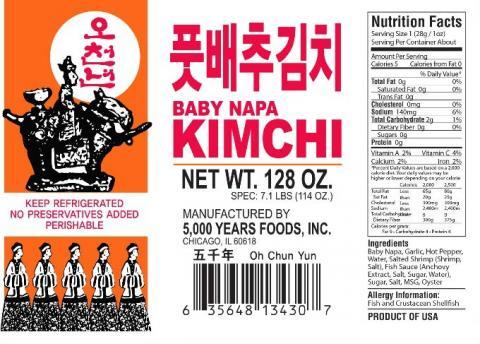 Baby Napa Kimchi, 128 oz.