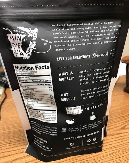 Back Label, Nutrition Facts