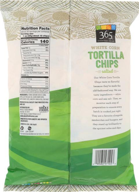 Back image - 365 Everyday Value White Corn Tortilla Chips Salted-Party Size, UPC 9948247145