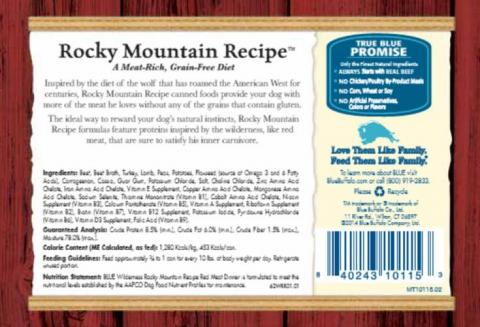 Back label - BLUE Wilderness Rocky Mountain Recipe Red Meat Dinner Wet Food for Adult Dogs 12.5 oz. can