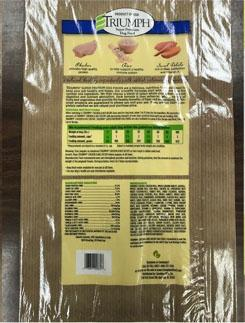 Back label TRIUMPH CHICKEN & RICE RECIPE, 16 lb bag
