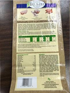 Back label TRIUMPH CHICKEN & RICE RECIPE, 3.5 lb bag