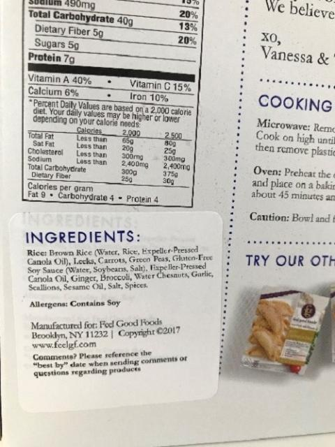 Back label, nutrition facts and ingredient statement