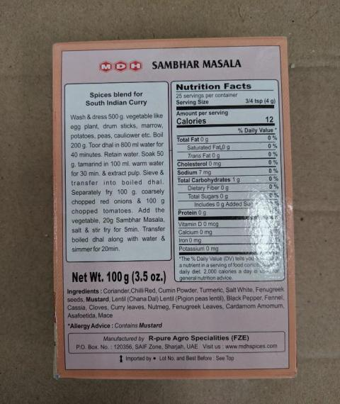Back Label: MDH Sambhar Masala, Nutrition Panel