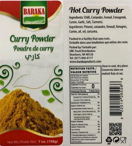 Urgent: Curry Spice Recall | FDA